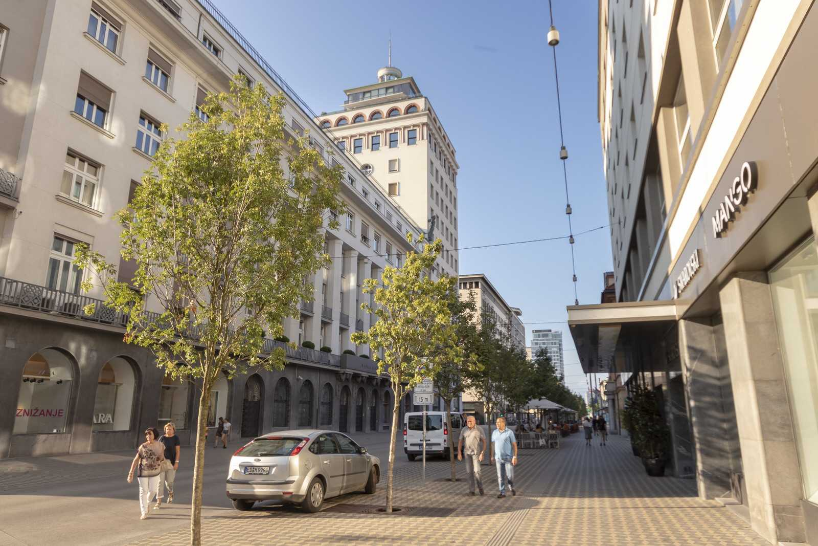 Slovenska street near Trdinova apartment as a part of the old town pedestrian zone