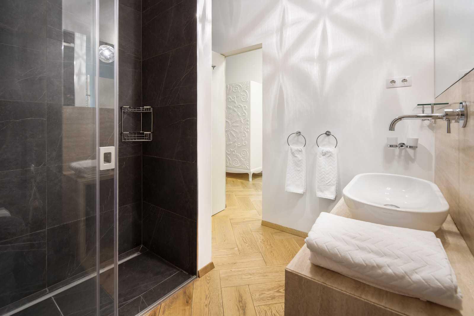 Ljubljana 2-bedroom Beethovnova apartment's master bedroom en-suite bathroom