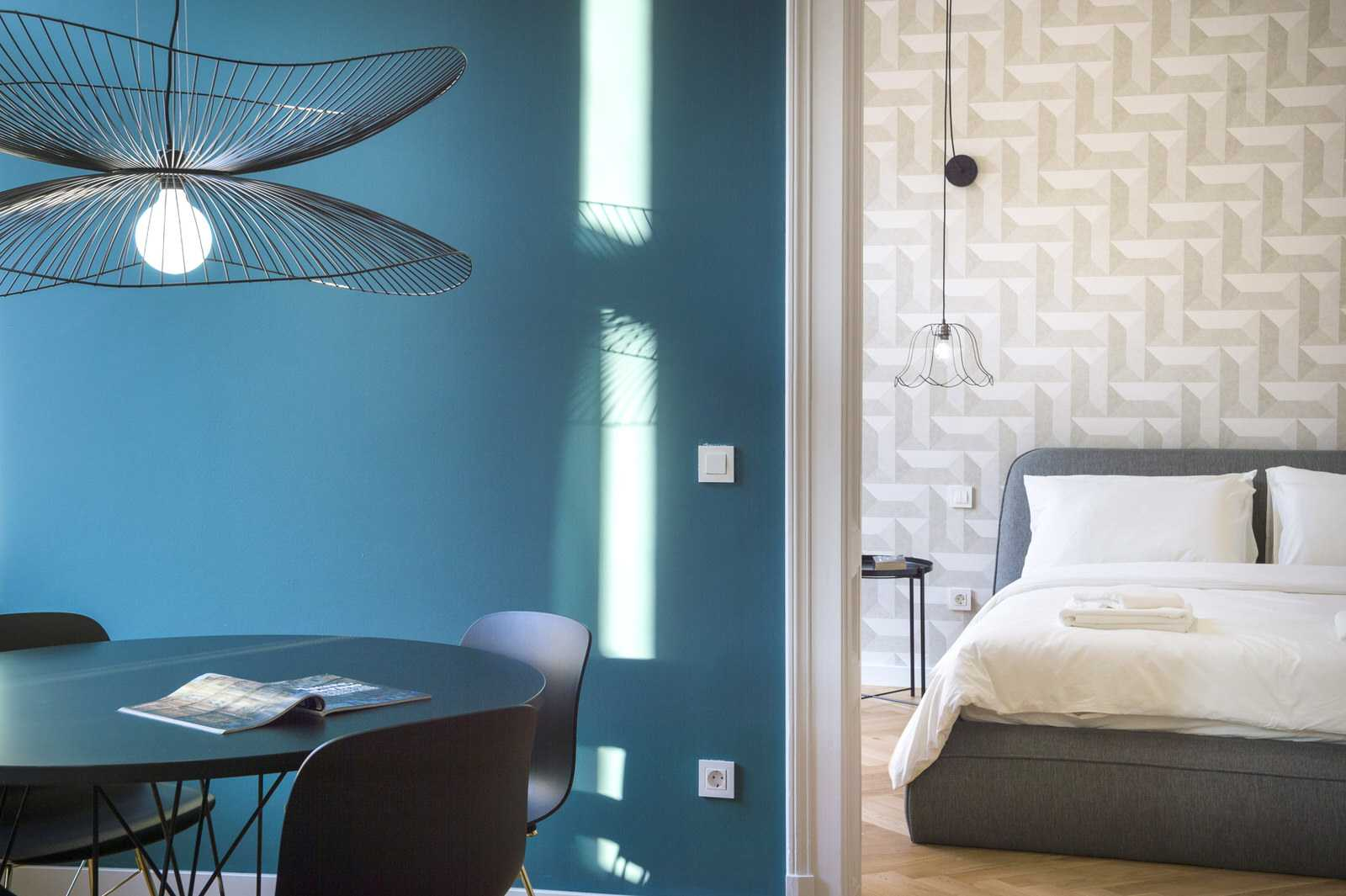 Blue accent wall of Ljubljana rental apartment
