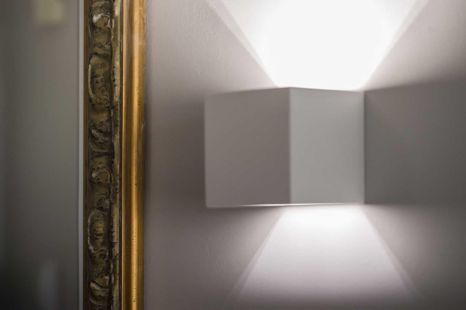 Box light in Ljubljana rental apartment hallway.