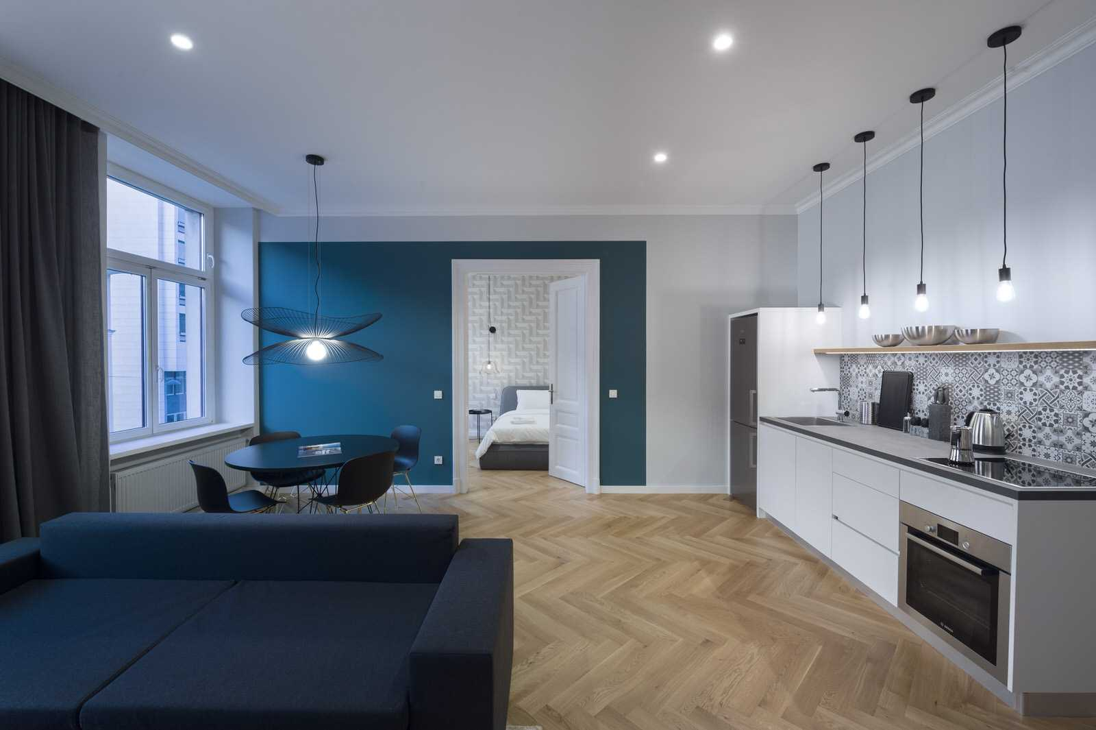 Full view living space of Ljubljana rental apartment