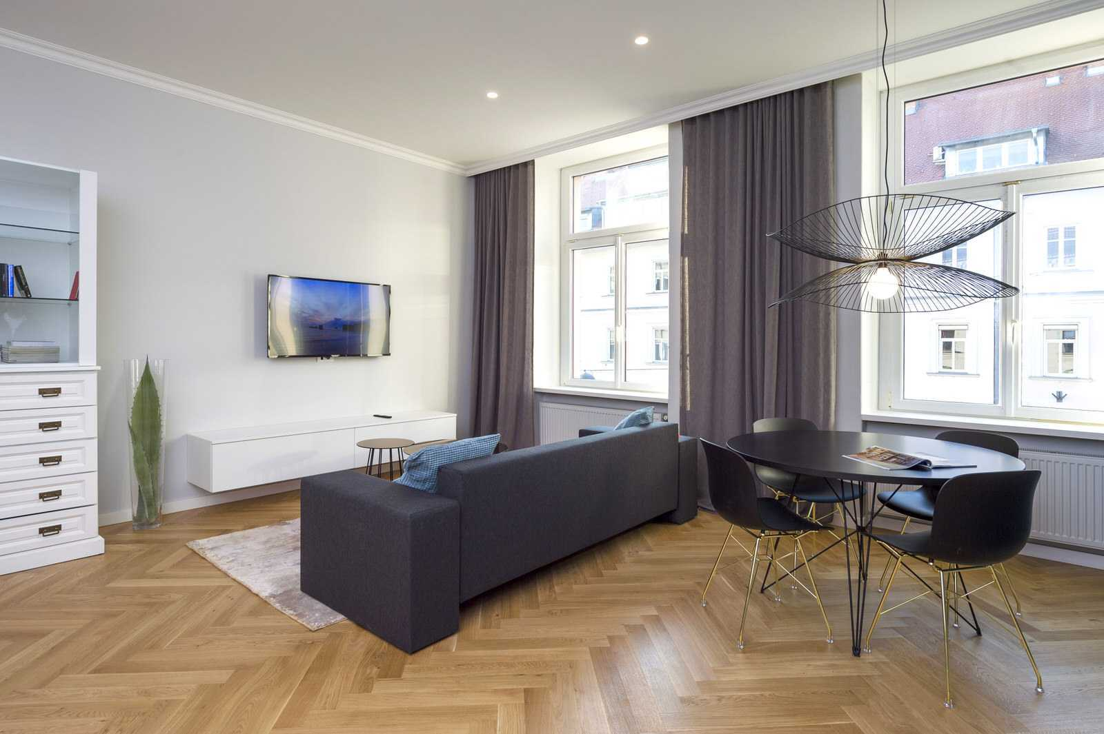 Dining and living area in Ljubljana rental apartment