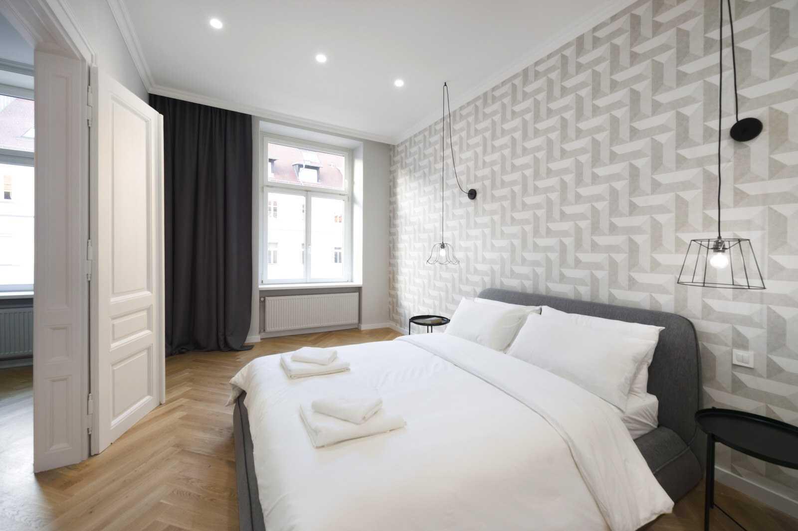 Ljubljana rental apartment Master Bedroom with trendy wallpaper