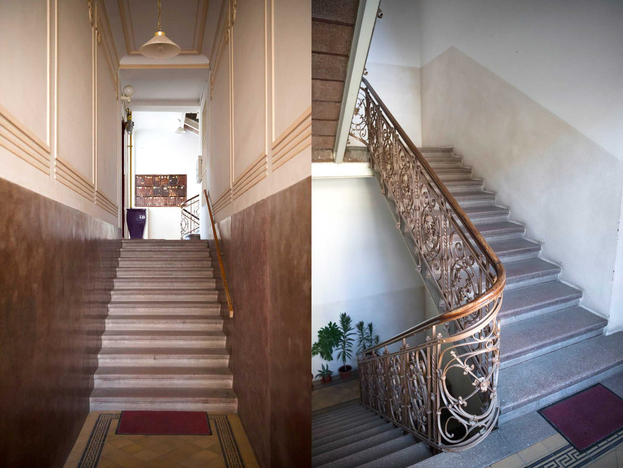 Big and spacious entrance to the building and vintage staircase leading to the apartment.