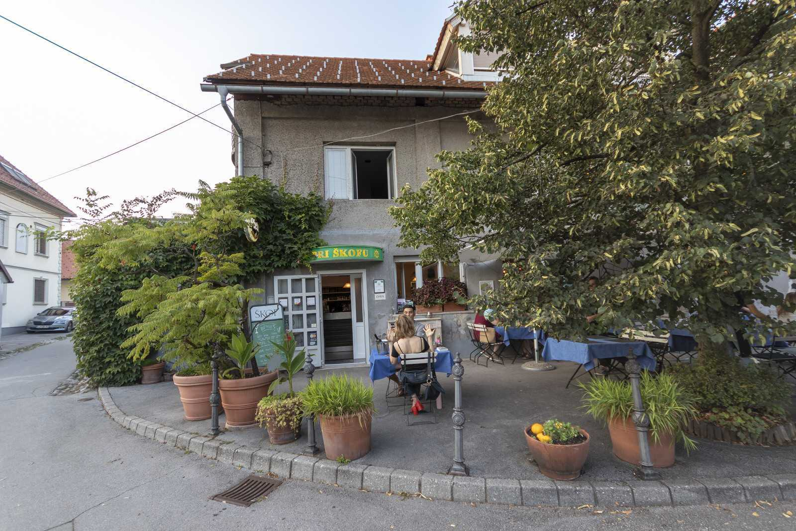 Restaurant Pri Skofu, just a few meters from Ljubljana rental apartment's front door on Gradaska street.