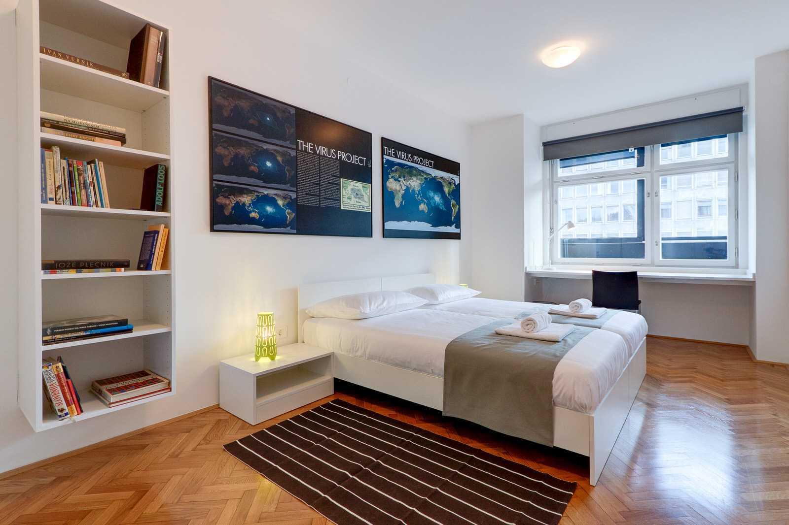 Bedroom no.1 in the 2-bedroom rental apartment Slovenska street.