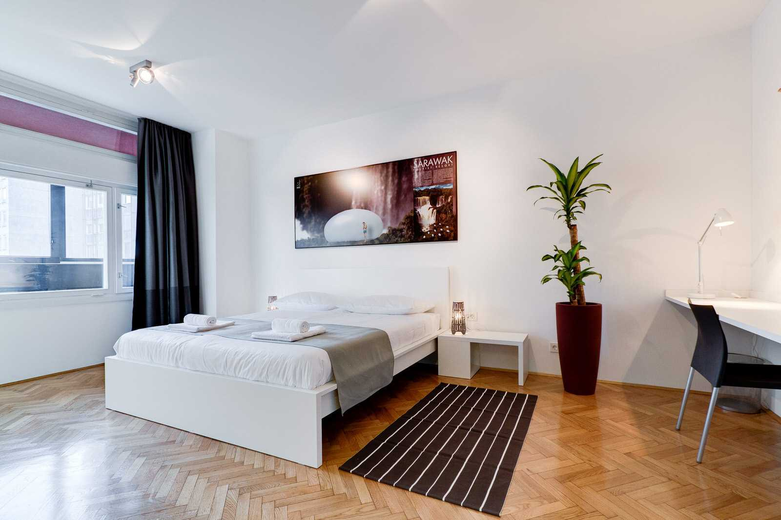 Master bedroom of this rental apartment.