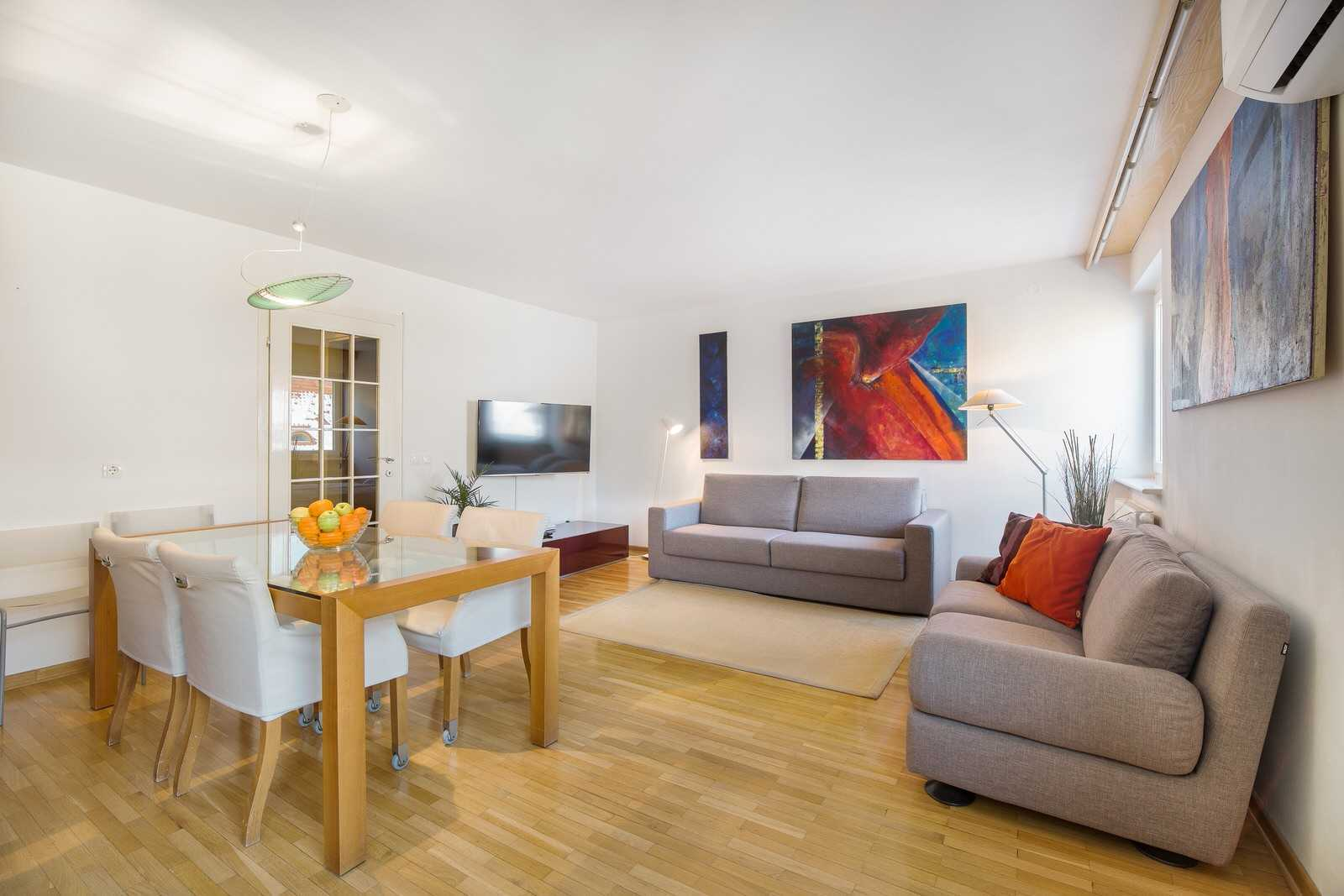 Ljubljana rental apartment Dalmatinova - living room with two sofas of which one is a sofa bed.