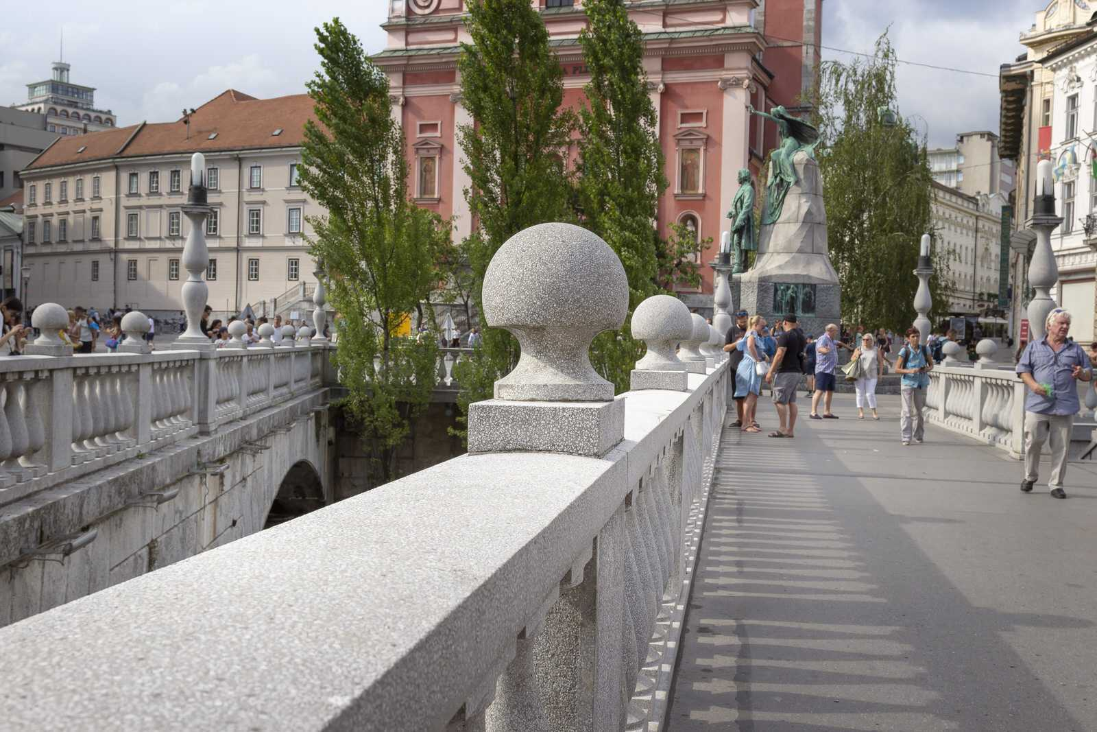 Ljubljana city center - Tripple bridge next to Prešeren square.
