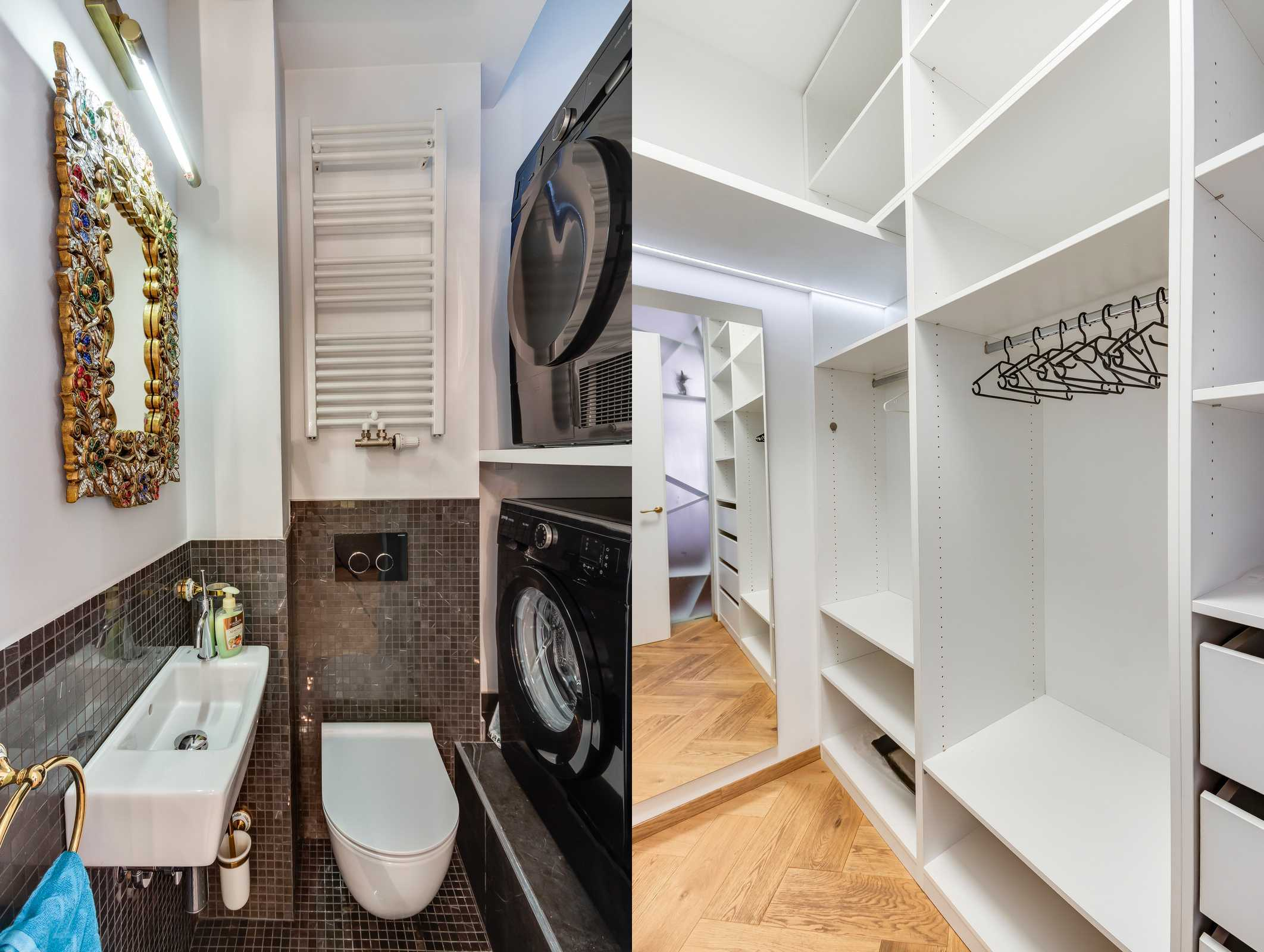 Two bedroom Ljubljana apartment's additional toilet with washer and dryer + a walk in closet.
