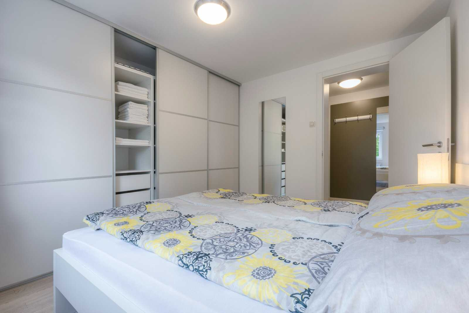 The bedroom features a queen size bed and a large closet.