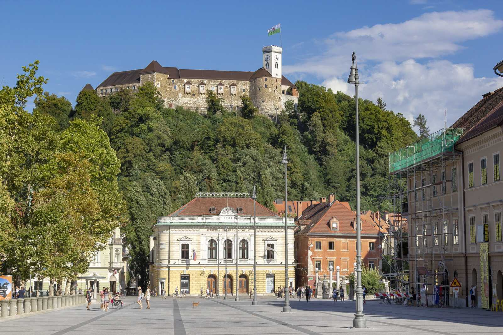The Congress Square with a view of the Ljubljana castle