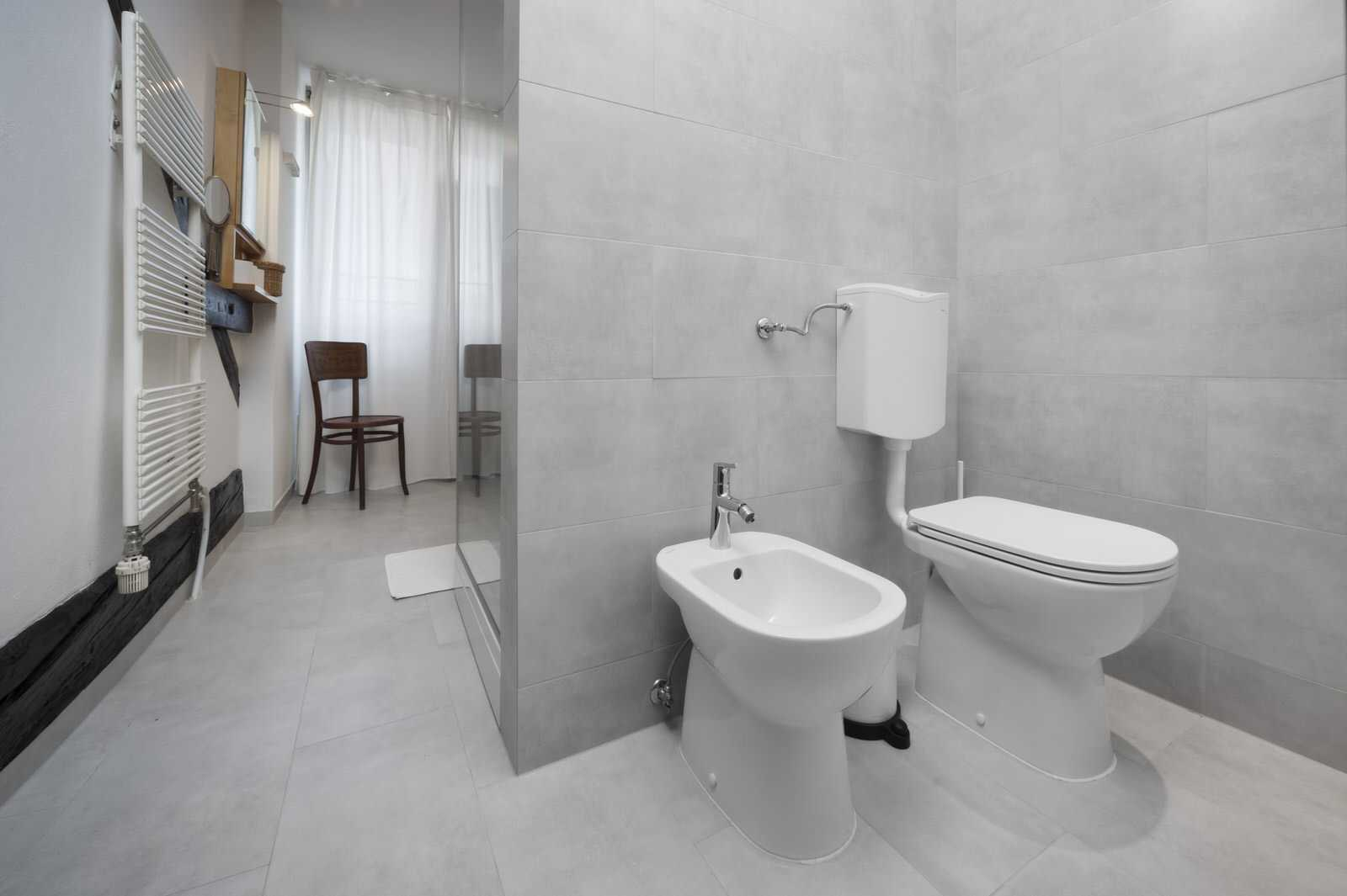 The bathroom is modern.