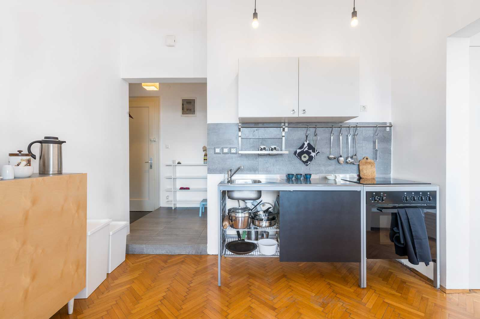 There is a small but fully functional kitchen.