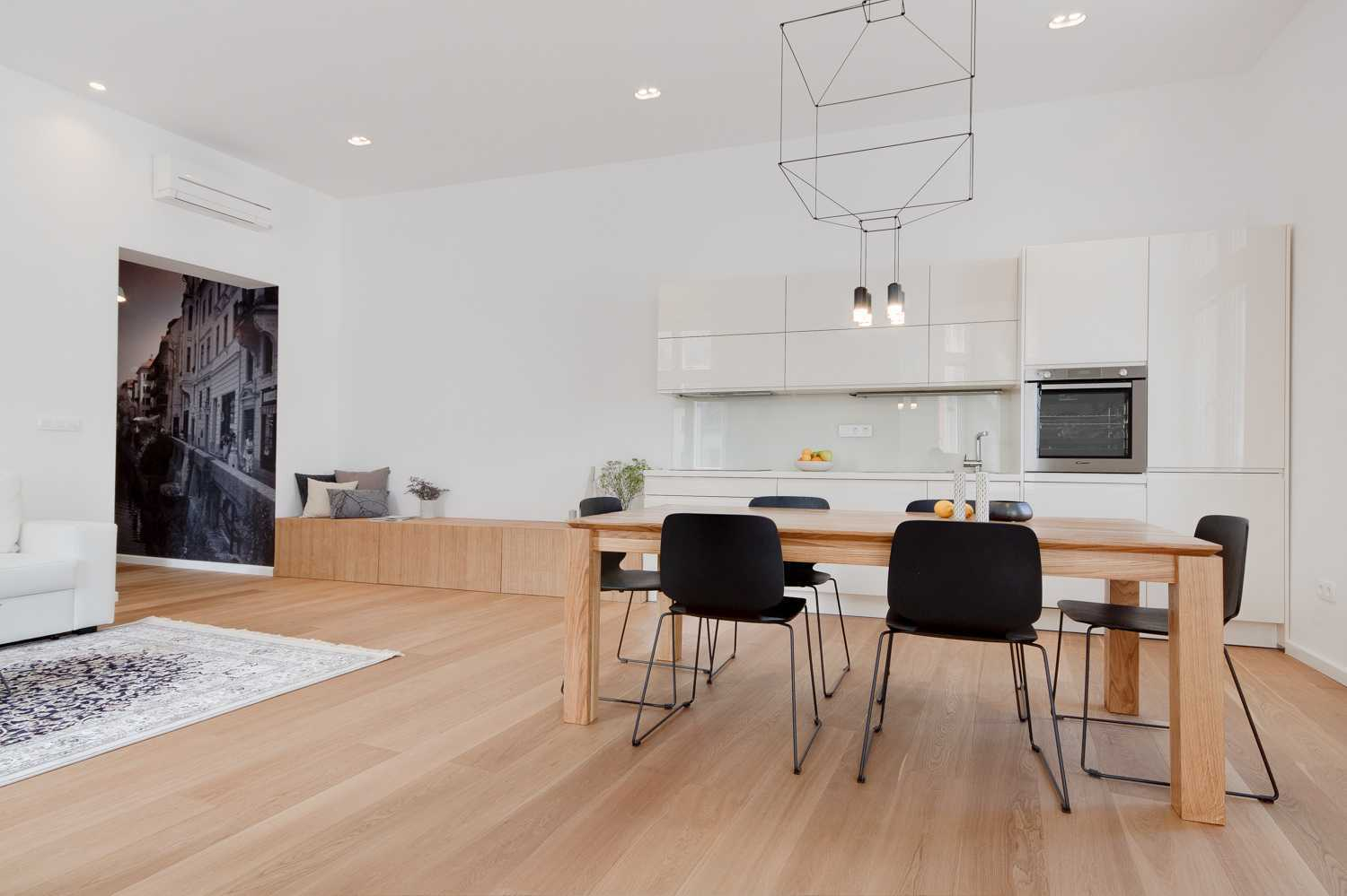 The ceilings are high and add to the spaciousness of the apartment.