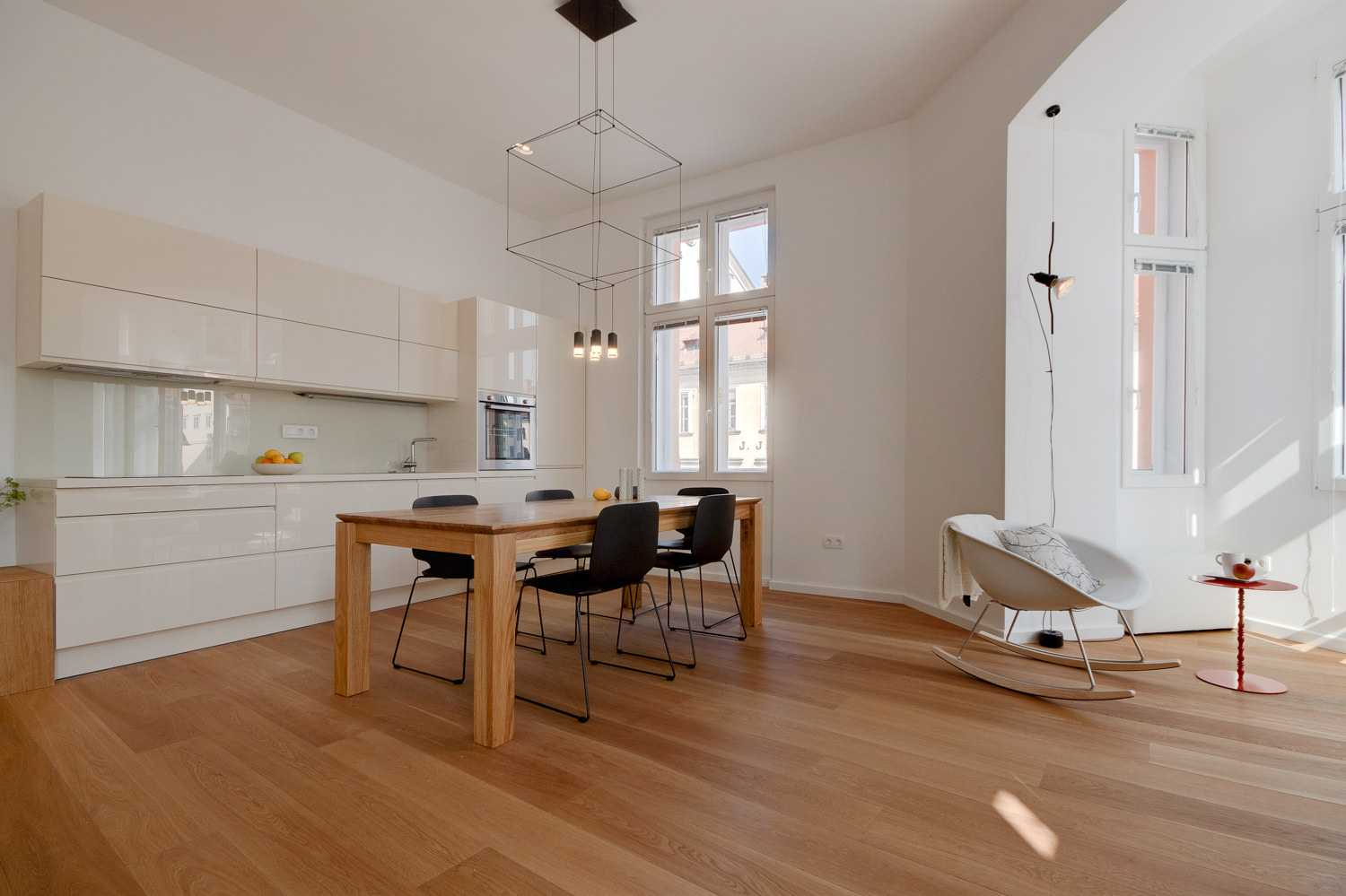 This beautiful hardwood dining table was custom-made for the apartment.