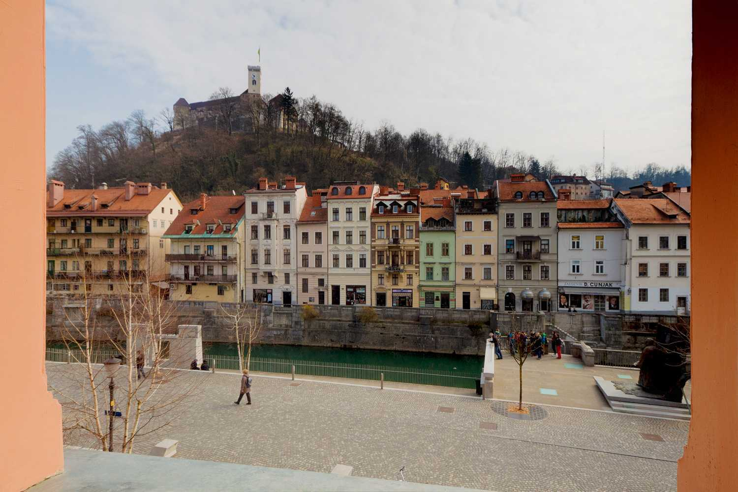 The apartment has a view of the old town and the Ljubljana castle.