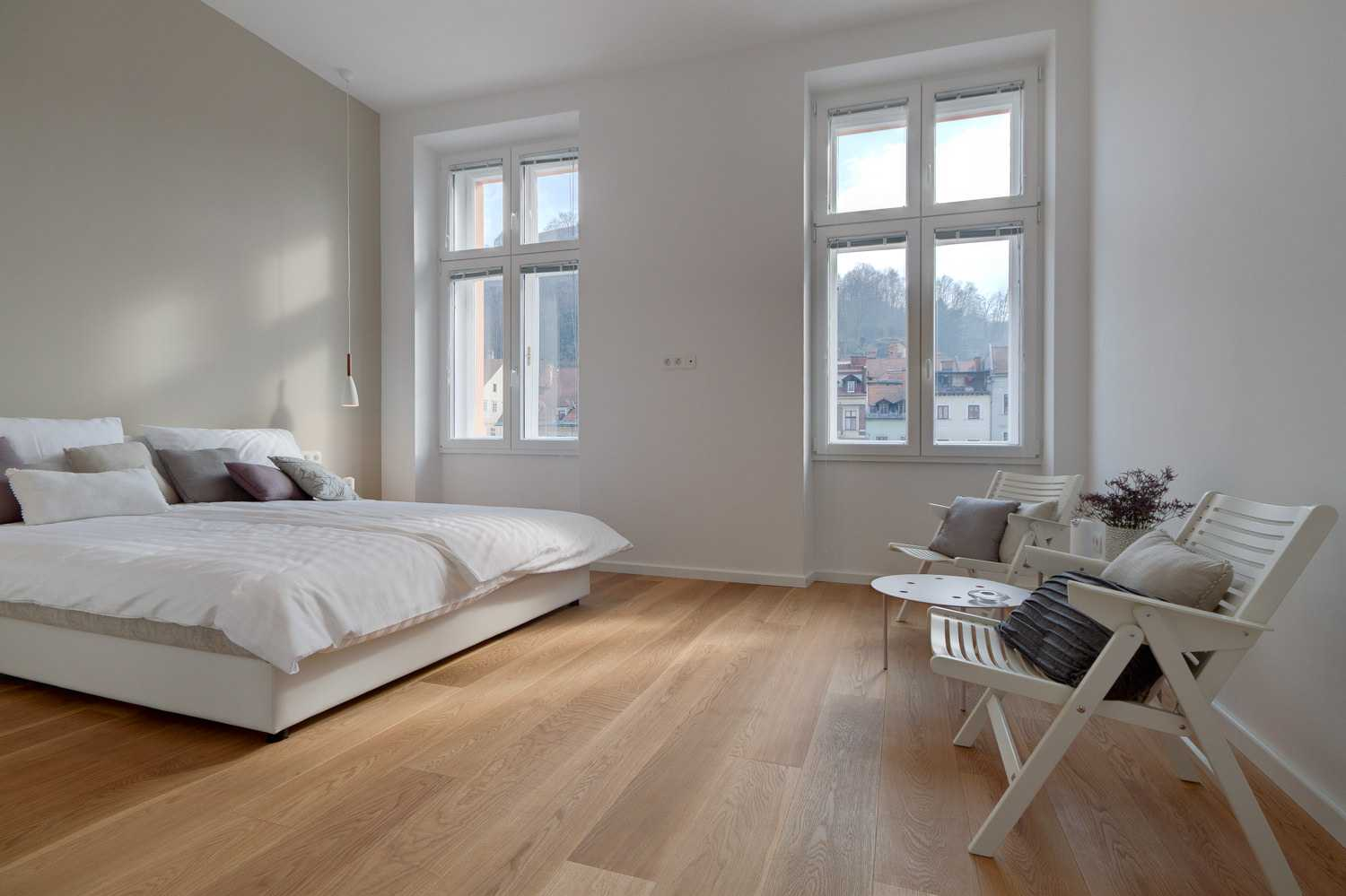 The master bedroom has fantastic views of the old town.