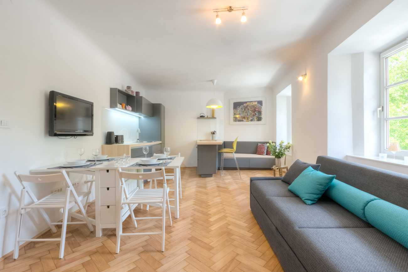 Relax on this cozy sofa after a long walk in Ljubljana.