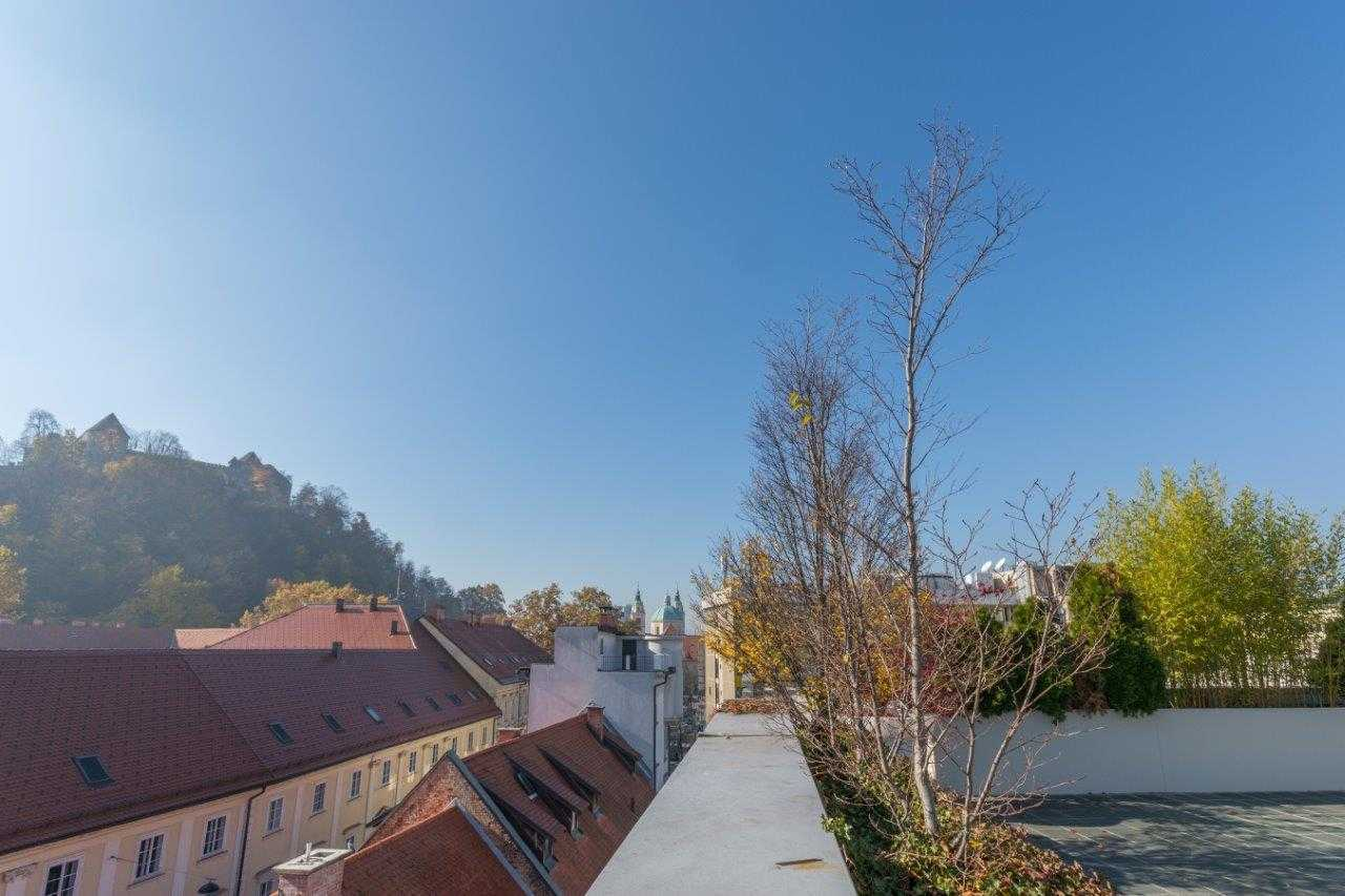The terrace has a great view of the Ljubljana castle and rooftops.